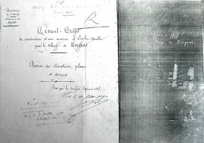 Avant projet de construction d'une maison d'école double pour le village de Norgeat établi par l'ingénieur civil Alphonse Bec le 20 juillet 1890