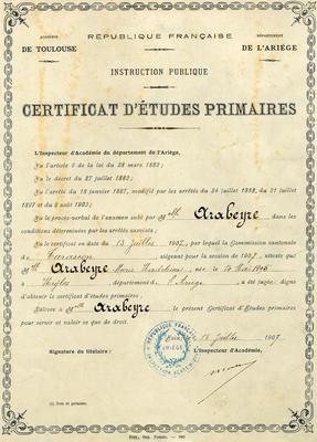 Certificat d'études primaires Madeleine Arabeyre - 15 juillet 1907